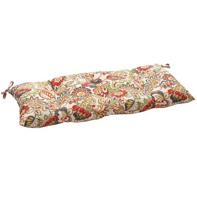 Outdoor Tufted Bench/Loveseat/Swing Cushion - Green/Off-White/Red Floral