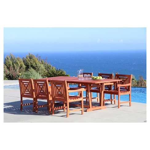 Malibu 7pc Rectangle Wood Patio Dining Set - Brown - Vifah - image 1 of 1