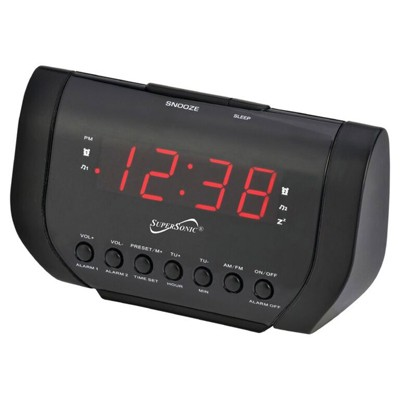 Supersonic Dual Alarm Clock Radio with USB Charging Port