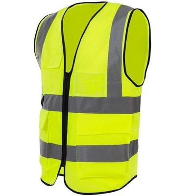 Reflective Vests, Safety Vest, Reflective Strips, Lightweight, Multi-Pockets Front Zipper for Men and Women Work, Cycling, Runner, Universal Size