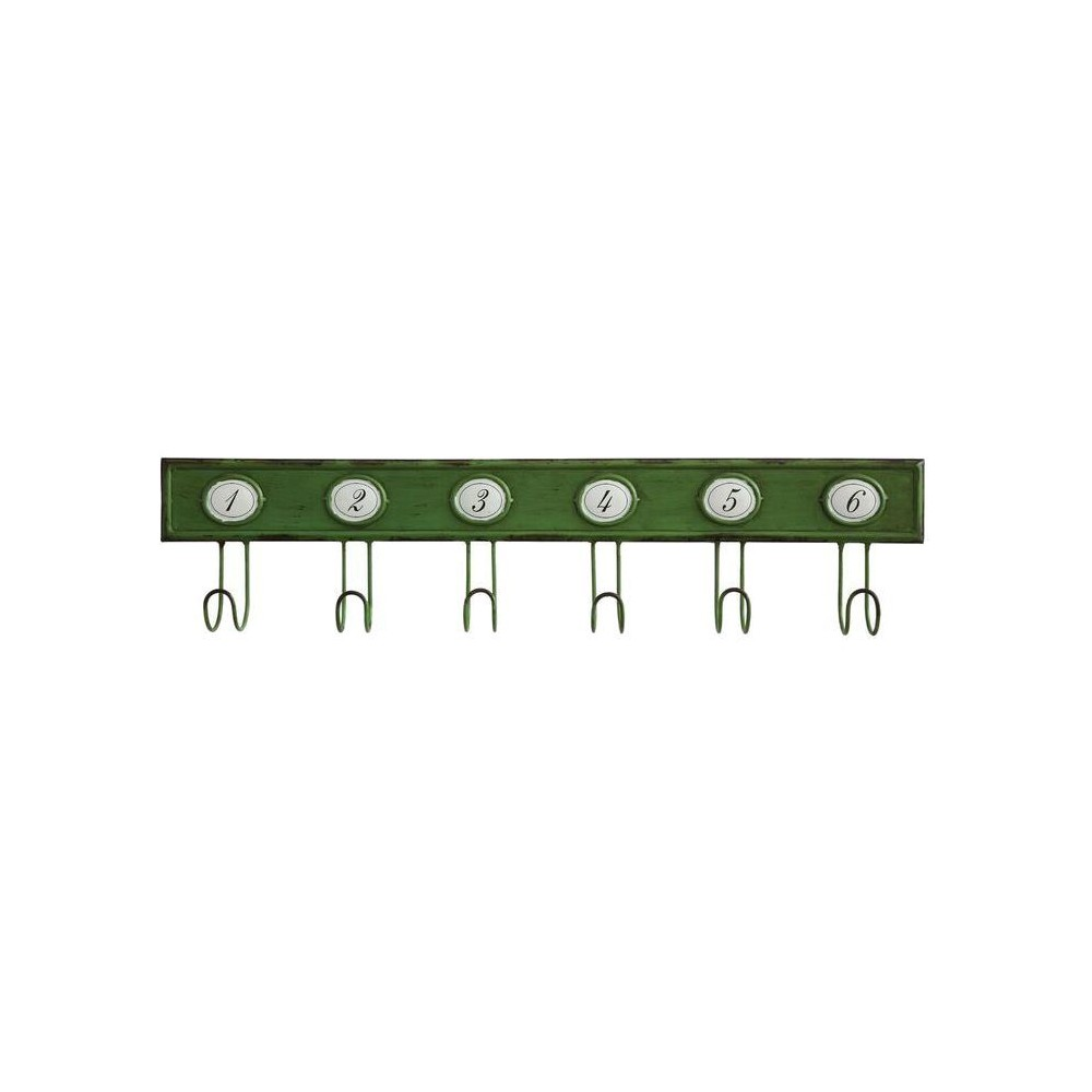 Metal Hook with Numbers Wall Décor - 3R Studios, Green