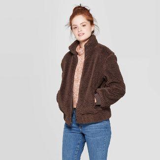 Women's Sherpa Bomber Jacket - Universal Thread™ Brown M