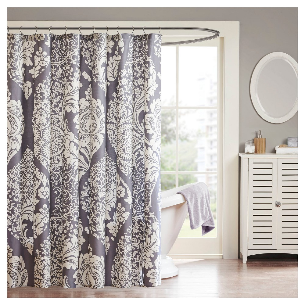 Image of Adela Cotton Shower Curtain Slate, Gray