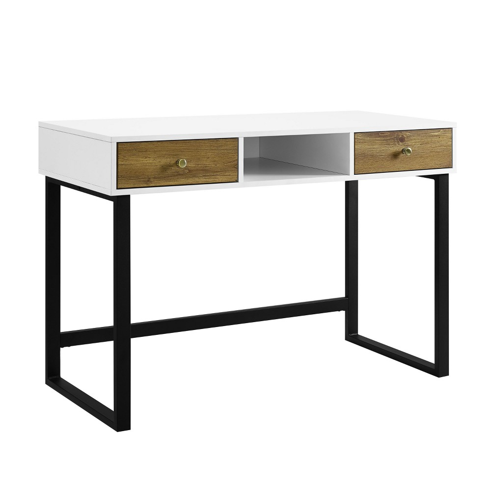 44 Modern Two Tone Desk With Drawers White - Saracina Home