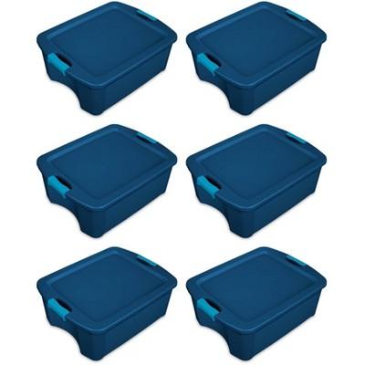 Sterilite 12 Gallon Latch and Carry Storage Tote, True Blue (6 Pack)   14447406