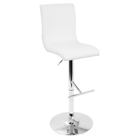 Spago Contemporary Adjustable Barstool - White - Lumisource - image 1 of 7