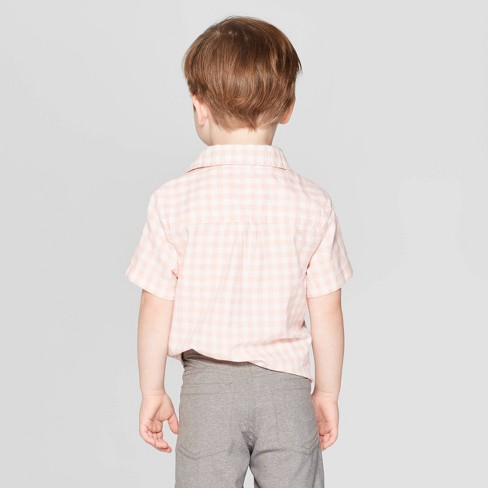 562facb8 Toddler Boys' Gingham Short Sleeve Button-Down Shirt - Cat & Jack™ Pink