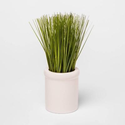 "9"" x 4"" Artificial Grass in Ceramic Pot Green - Threshold™"