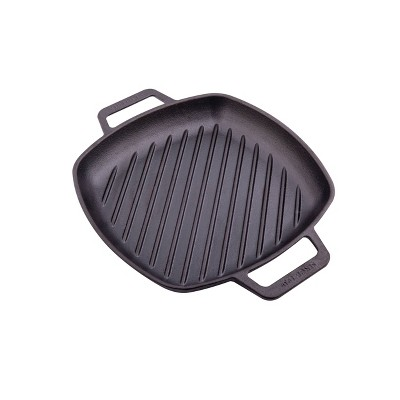 "Victoria Seasoned 10"" Grill Pan with Double Loop Handles"