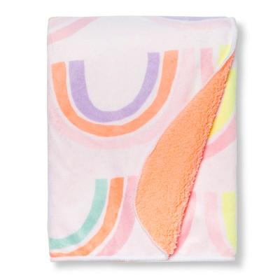 Plush Velboa Baby Blanket Rainbows - Cloud Island™ Pink