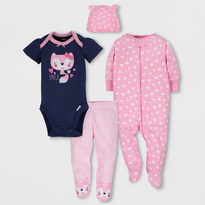Gerber Baby Girls' 4pc Short Sleeve Bodysuit, Long Sleeve Sleeper Pants and Cap Set - Blue/Pink 0-3M