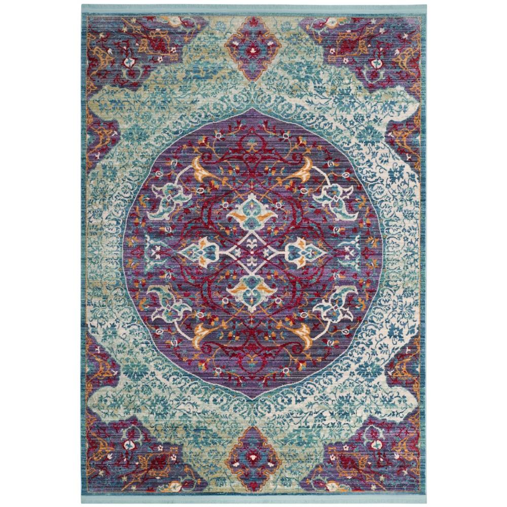 Purple/Turquoise Medallion Loomed Area Rug 5'X7' - Safavieh