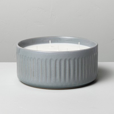25oz Large 5-Wick Blue Sagewood Fluted Ceramic Candle - Hearth & Hand™ with Magnolia