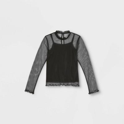 Girls' Swiss Dot Mock Neck Long Sleeve Blouse - art class™