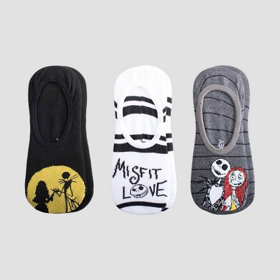 Women's Nightmare Before Christmas 3pk Liner Socks - Black/Gray/White 4-10