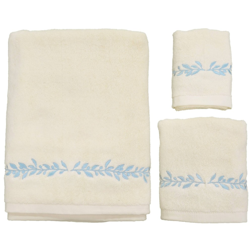 Image of 3pc Avignon Bath Towel Sets Blue/Cream - Allure Home Creation