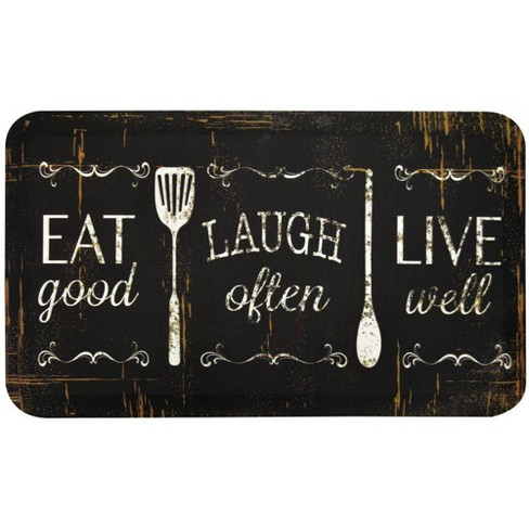 Home Dynamix 18 X 30 Eat Laugh Live Kitchen Mat Black Brown Target