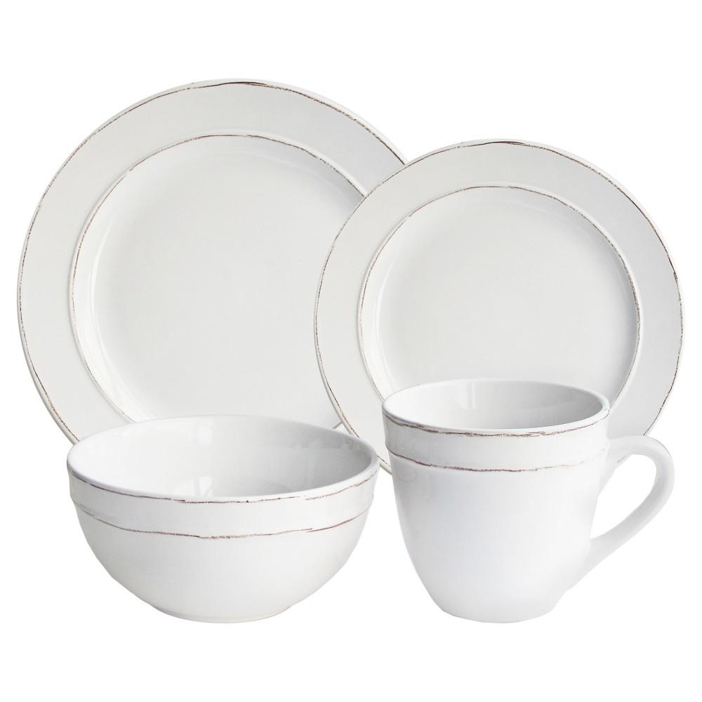American Atelier Stoneware 16pc Dinnerware Set White