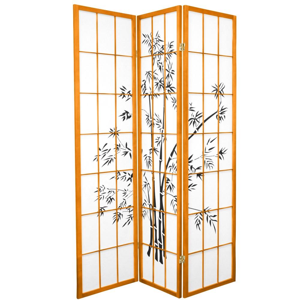 Oriental Furniture 6' Tall Lucky Bamboo Shoji Screen 3 Panels Honey