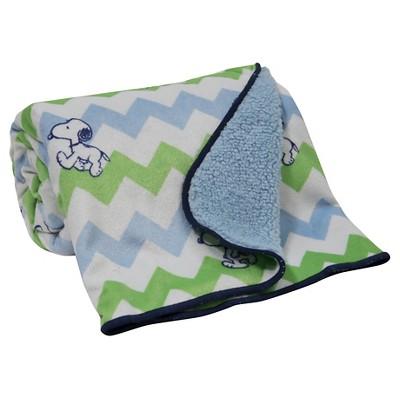 Peanuts Velour Sherpa Blanket - Snoopy Chevron