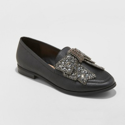 d3b3393f22e Women s Jean Faux Leather Beaded Bow Loafers - A New Day™ Black