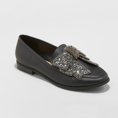 Women's Jean Faux Leather Beaded Bow Loafers - A New Day™ Black - image 1 of 3