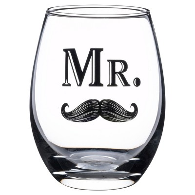 Clear  Mr.  Wine Glass with Mustache