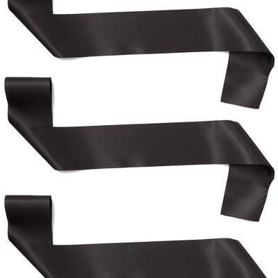 Sparkle and Bash Blank Customizable Satin Sash (8 Pack), Black