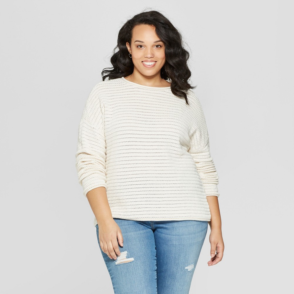 Women's Plus Size Long Sleeve Crew Neck Pullover Sweater - Universal Thread Cream (Ivory) 3X
