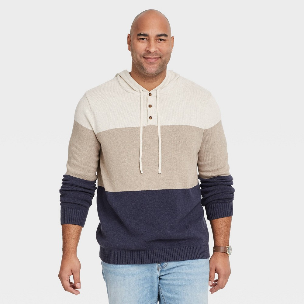 Men 39 S Big 38 Tall Regular Fit Striped Pullover Hoodie Sweater Goodfellow 38 Co 8482 Off White 2xb