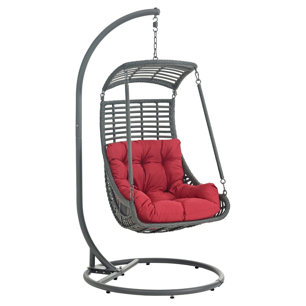 Jungle Outdoor Patio Swing Chair in Red - Modway