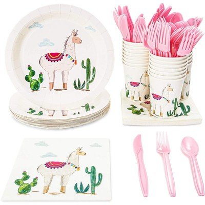 Blue Panda 144 Pieces Llama Party Bundle, Includes Plates, Napkins, Cups, and Cutlery (24 Guests)