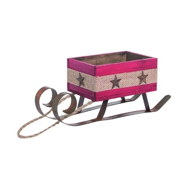 Transpac Wood 11 in. Red Christmas Floral Sled
