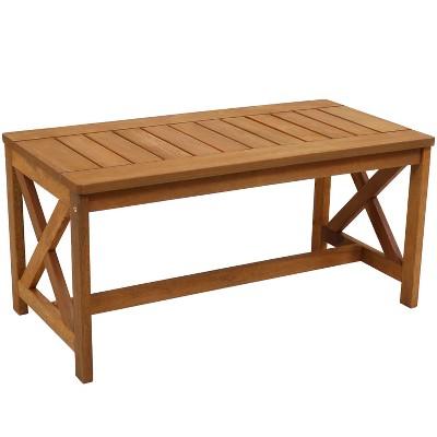 "Sunnydaze Outdoor Meranti Wood with Teak Oil Finish Rectangular Wooden Patio Coffee Table - 35"" - Brown"