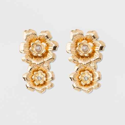 SUGARFIX by BaubleBar Gilded Flower Stud Earrings - Pearl Gold - image 1 of 3