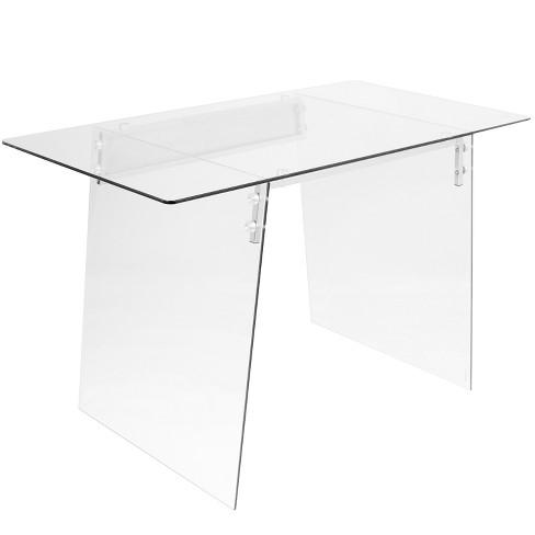 Glacier Contemporary Desk Clear Glass/Chrome - LumiSource - image 1 of 4