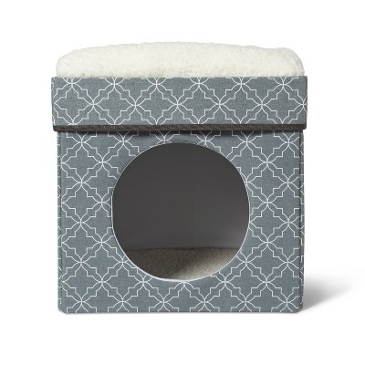Stackable Cube Cat Condo - Gray Patterned - Boots & Barkley™