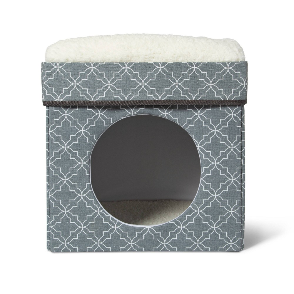 Stackable Cube Cat Condo - Gray Patterned - Boots & Barkley