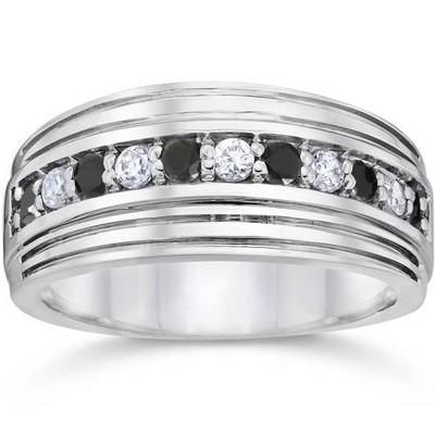 Pompeii3 Mens 10k White Gold Alternating Black & White Diamond 1/2ct Wedding Ring