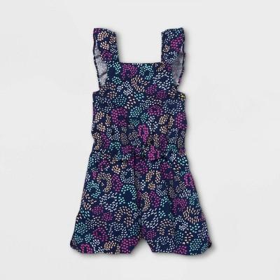 Toddler Girls' Ruffle Sleeve Romper - Cat & Jack™ Navy