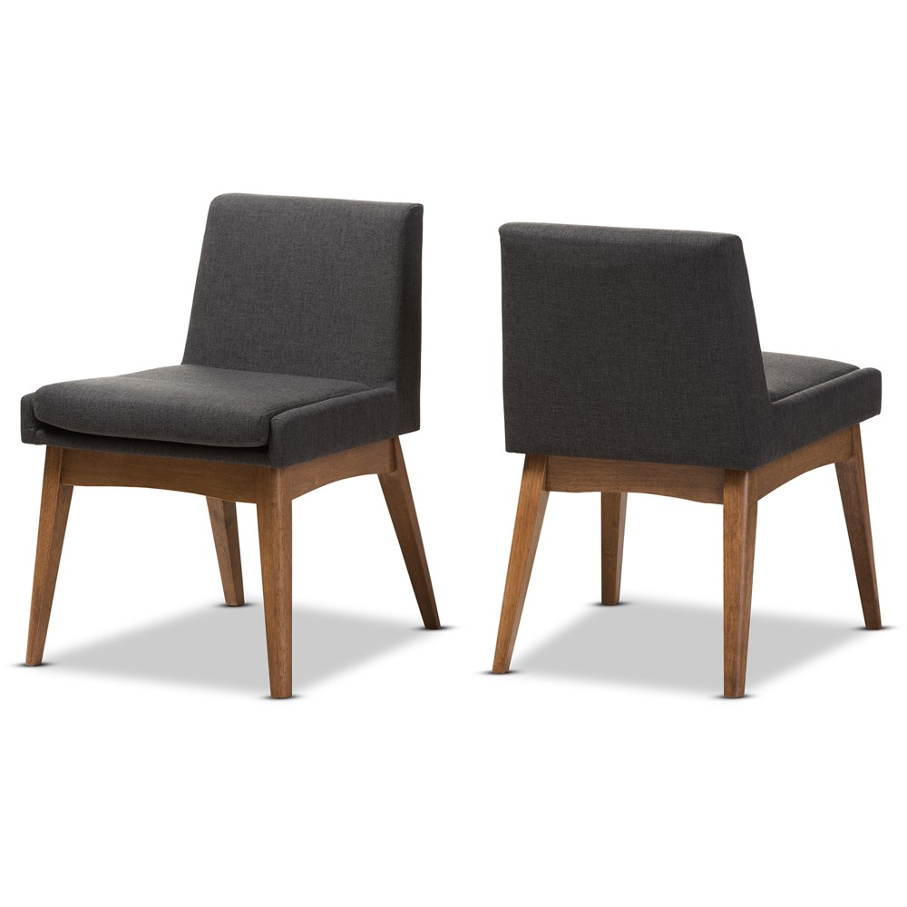 Set of 2 Nexus Mid Century Modern Walnut Wood Fabric Upholstered Dining Side Chair Gray - Baxton Studio