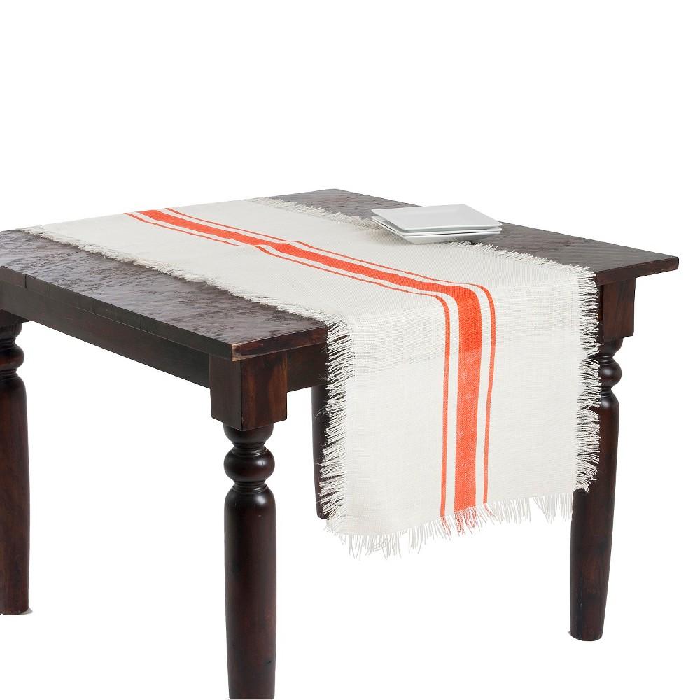 Striped Design Jute Runner Tangerine 20 X90