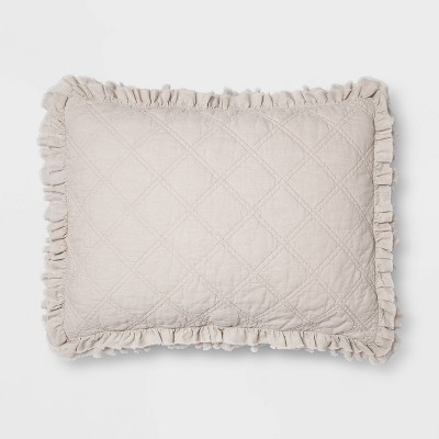 Standard Vintage Washed Ruffle Sham Natural - Threshold™