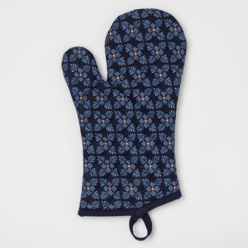 Blue Floral Oven Mitt - Threshold™ - image 1 of 1