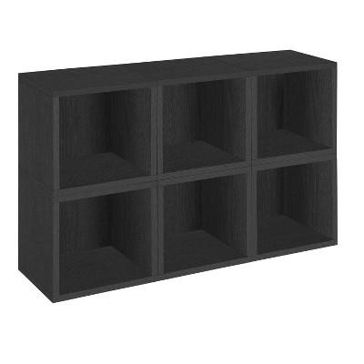 Way Basics 6 Stackable Eco Cubes Storage, Black - Formaldehyde Free - Lifetime Guarantee