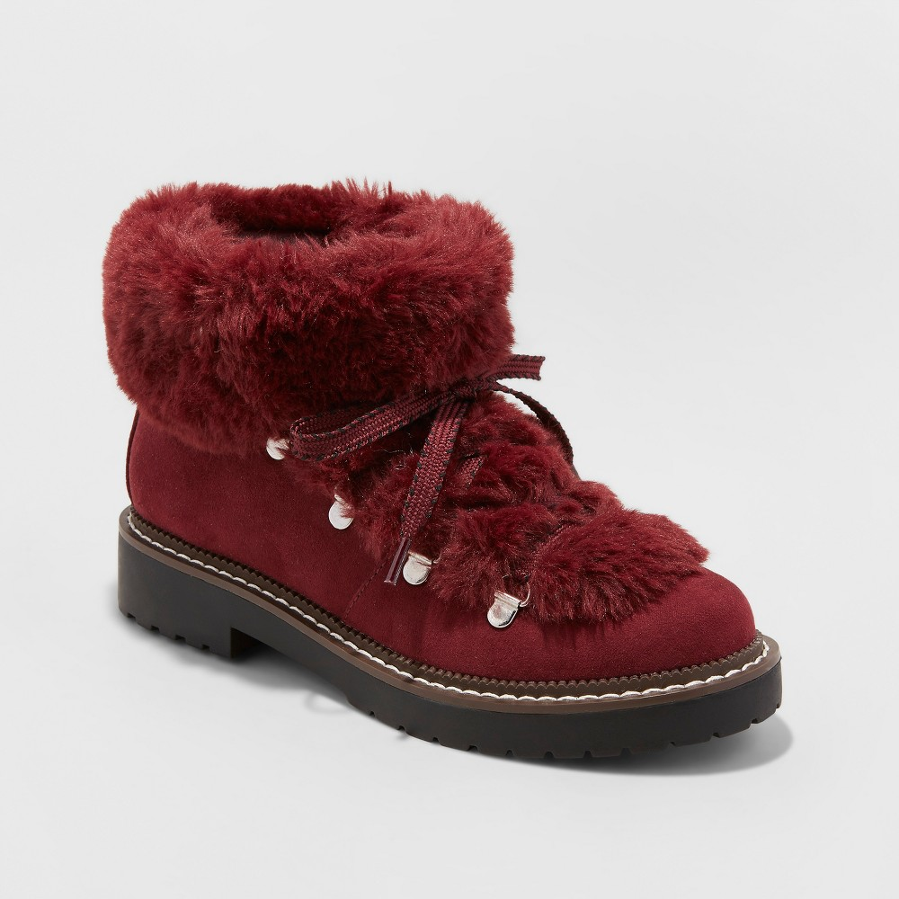 Women's Tessie Faux Fur Hiker Boots - A New Day Burgundy (Red) 7.5