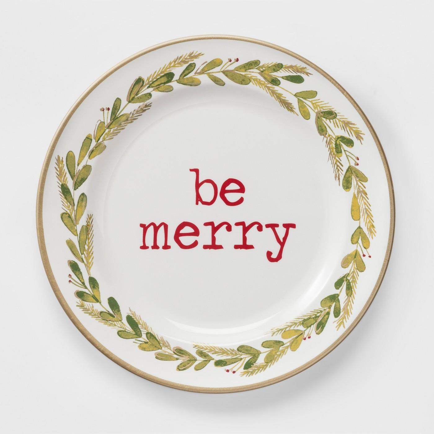 """10.9"""" Plastic Be Merry Dinner Plate White/Green - Thresholdâ""""¢ - image 1 of 2"""
