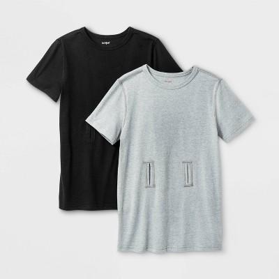 Boys' 2pk Adaptive Short Sleeve G-Tube Access T-Shirt - Cat & Jack™ Gray/Black