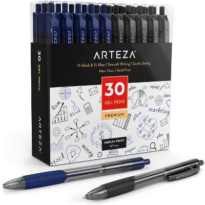 Arteza Retractable Gel Ink Pens, Black & Blue - 30 Pack