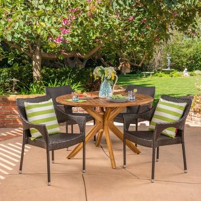 Natividad 5pc Acacia & Wicker Dining Set - Christopher Knight Home